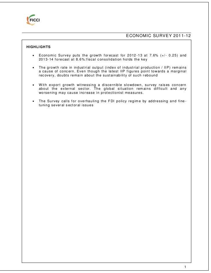 Economic Survey Of India 2011-12 In Pdf