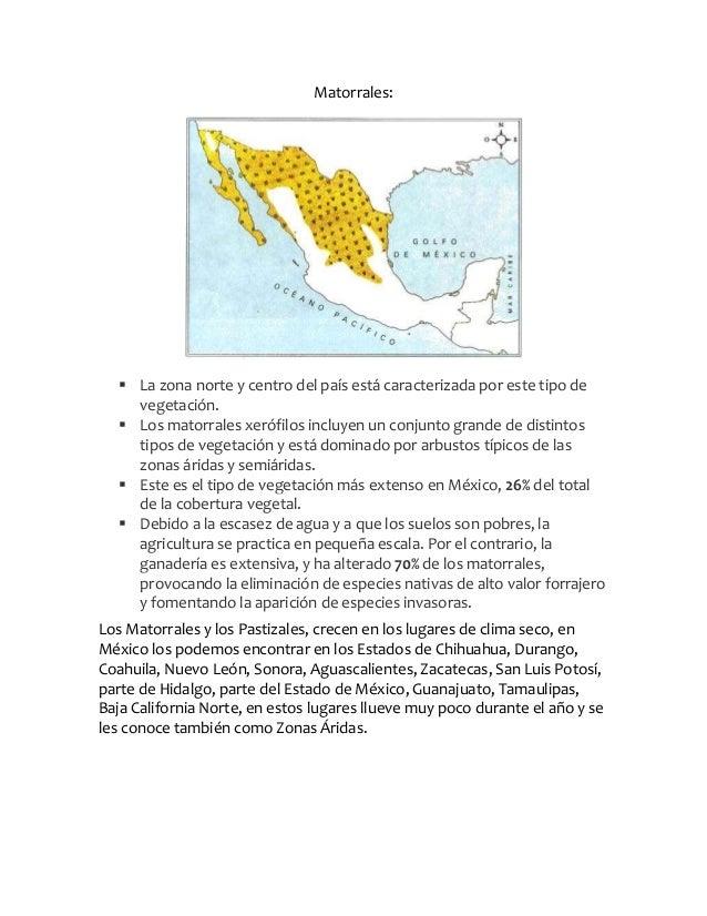 Matorrales: La zona norte y centro del país está caracterizada por este tipo devegetación. Los matorrales xerófilos incl...