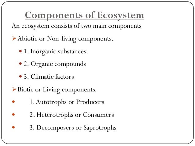Abioticor Non-living components.  It includes the non living substances of the environment eg. Water, Soil, Air, Light, Te...