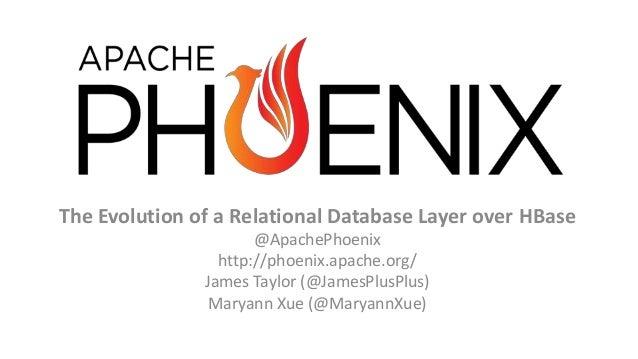 The Evolution of a Relational Database Layer over HBase @ApachePhoenix http://phoenix.apache.org/ James Taylor (@JamesPlus...