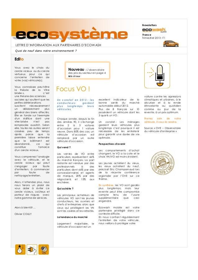 NewslettersecosystèmeLETTRE D'INFORMATION AUX PARTENAIRES D'ECOWASH                                                       ...