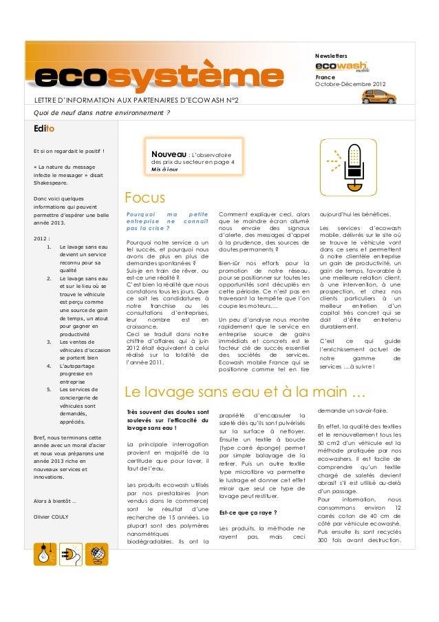 NewslettersecosystèmeLETTRE D'INFORMATION AUX PARTENAIRES D'ECOWASH N°2                                                   ...