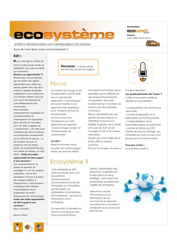 NewslettersecoLETTRE D'INFORMATION AUX PARTENAIRES D'ECOWASH                                                              ...
