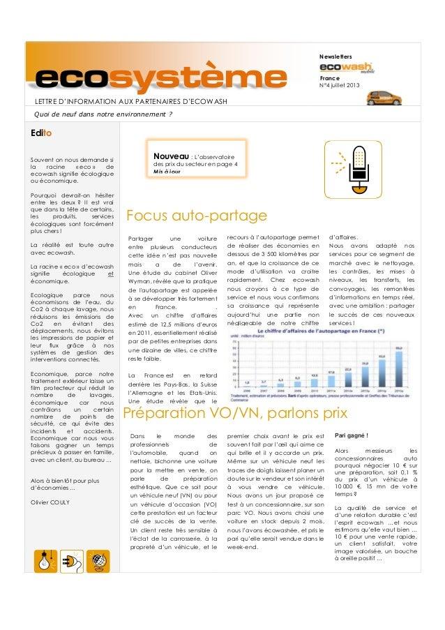ecosystèmeLETTRE D'INFORMATION AUX PARTENAIRES D'ECOWASH Newsletters France N°4 juillet 2013 Quoi de neuf dans notre envir...