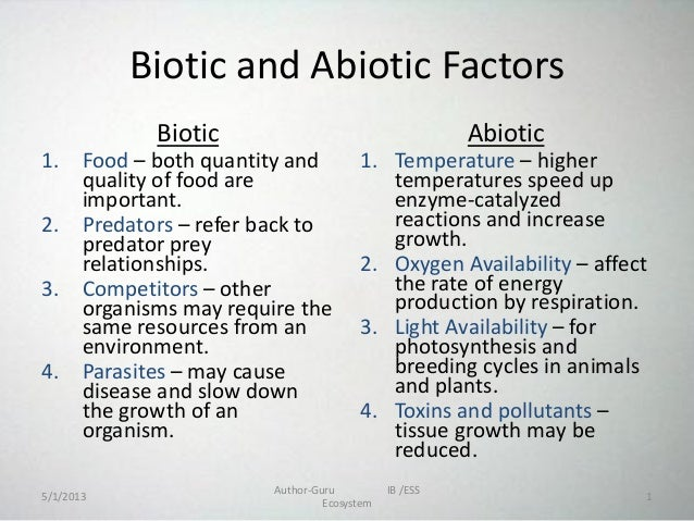 Ecosystem powerpoint 3 – Abiotic and Biotic Factors Worksheet