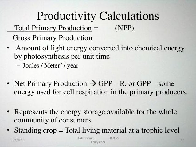calculating primary production Teacher guide 2 of 3 nppanalysis a collaborative project between the university of new hampshire, charles university and the globe program office 2012.
