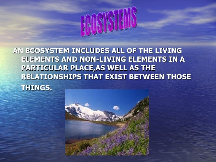 AN ECOSYSTEM INCLUDES ALL OF THE LIVING  ELEMENTS AND NON-LIVING ELEMENTS IN A  PARTICULAR PLACE,AS WELL AS THE  RELATIONS...