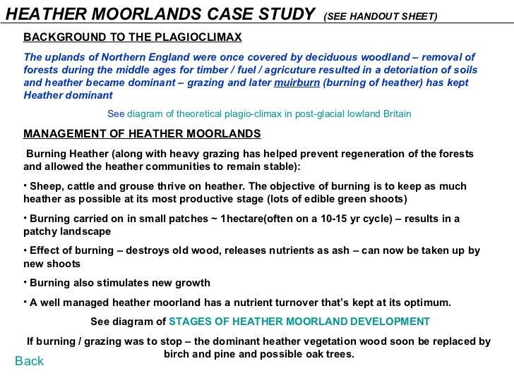 HEATHER MOORLANDS CASE STUDY  (SEE HANDOUT SHEET) <ul><li>BACKGROUND TO THE PLAGIOCLIMAX </li></ul><ul><li>The uplands of ...