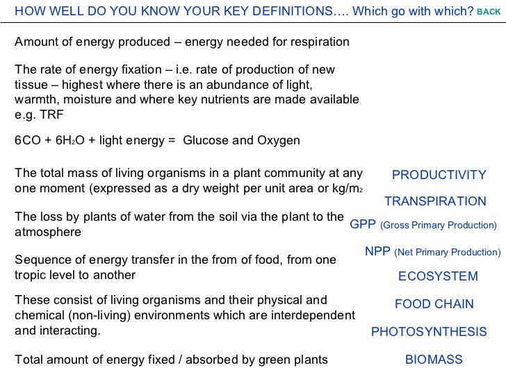 Amount of energy produced – energy needed for respiration 6CO + 6H 2 O + light energy =  Glucose and Oxygen The rate of en...