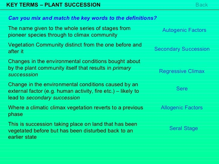 KEY TERMS – PLANT SUCCESSION The name given to the whole series of stages from pioneer species through to climax community...