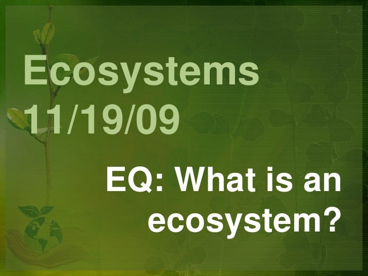 Ecosystems11/19/09<br />EQ: What is an ecosystem?<br />