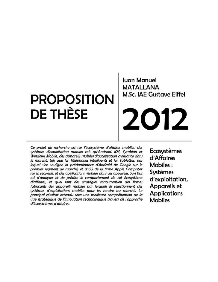 Ecosystème.d'affaires.mobiles.matallana.proposition.de.thèse