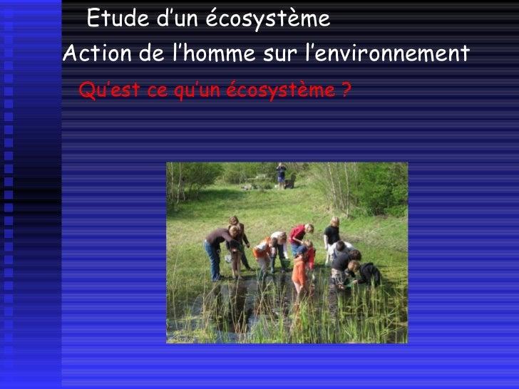 Qu'est ce qu'un écosystème ? Etude d'un écosystème  Action de l'homme sur l'environnement