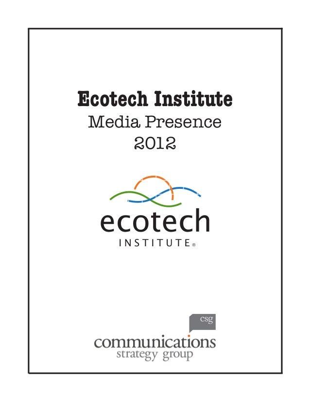 Ecotech Institute Media Presence 2012