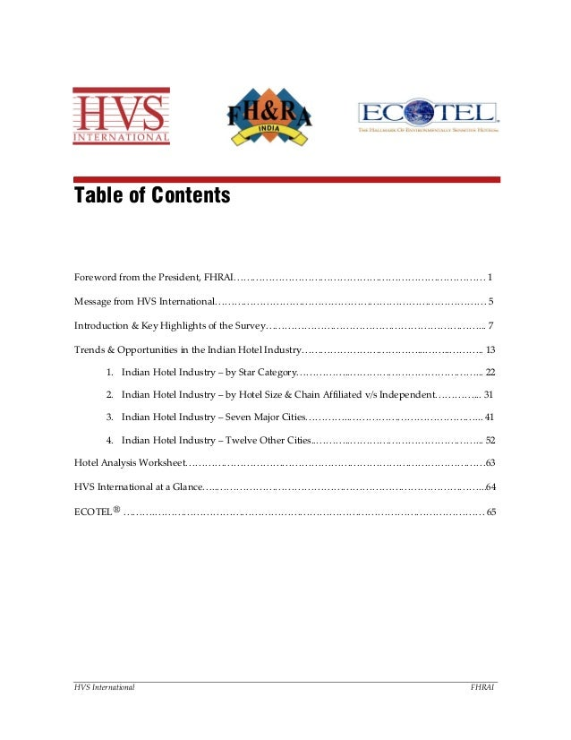 HVS International FHRAI Table of Contents Foreword from the President, FHRAI…………………………………………………………………… 1 Message from HVS ...