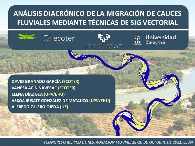 ANÁLISIS DIACRÓNICO DE LA MIGRACIÓN DE CAUCES FLUVIALES MEDIANTE TÉCNICAS DE SIG VECTORIALDAVID GRANADO GARCÍA (ECOTER)VAN...