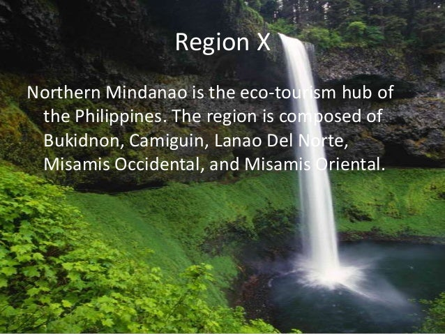 Region X Northern Mindanao is the eco-tourism hub of the Philippines. The region is composed of Bukidnon, Camiguin, Lanao ...