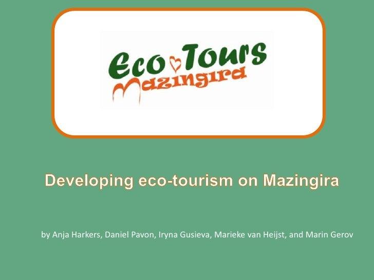 Developing eco-tourism on Mazingira<br />by Anja Harkers, Daniel Pavon, Iryna Gusieva, Marieke van Heijst, and Marin Gerov...
