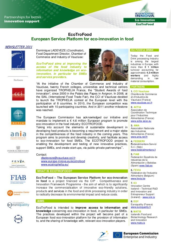 EcoTroFood              European Service Platform for eco-innovation in foodNEWSLETTER 2011                  Dominique LAD...