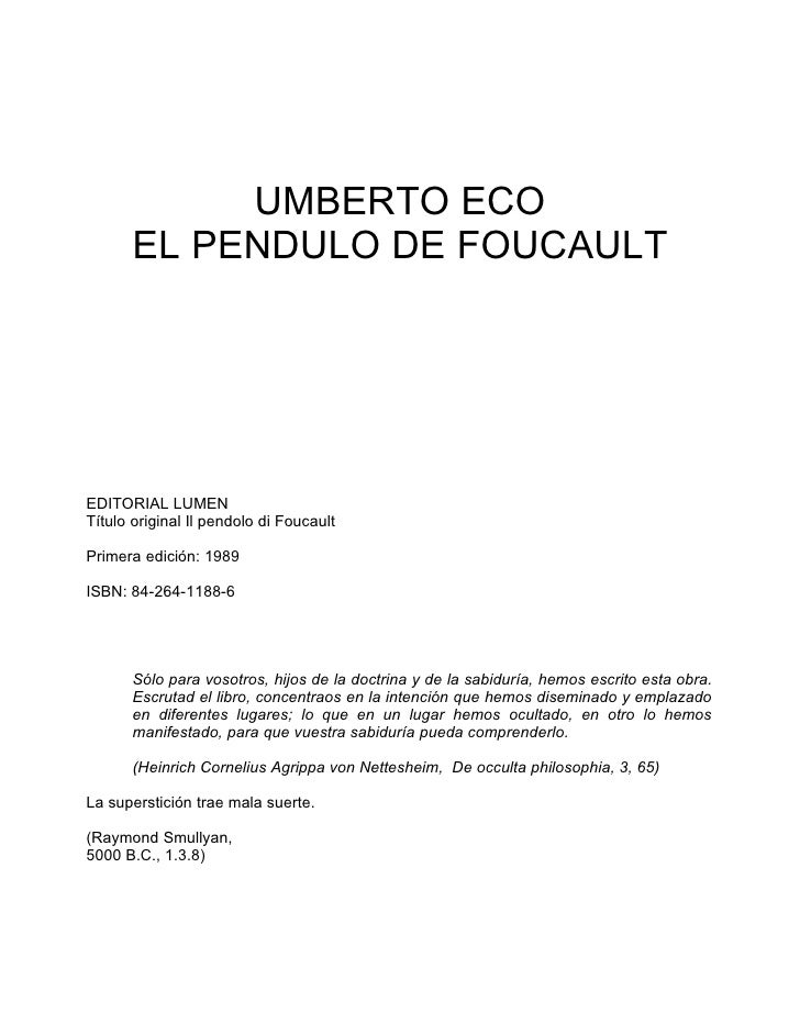 Eco, umberto   el pendulo de foucault