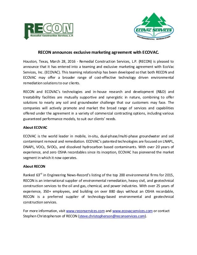 Ecovac Exclusive Marketing Agreement Press Release 2016 03 28 2