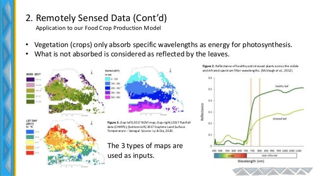 2. Remotely Sensed Data (Cont'd) Application to our Food Crop Production Model • Vegetation (crops) only absorb specific w...