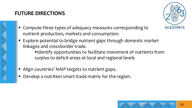  Compute three types of adequacy measures corresponding to nutrient production, markets and consumption.  Explore potent...