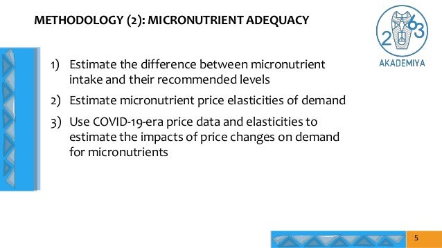 METHODOLOGY (2): MICRONUTRIENT ADEQUACY 5 1) Estimate the difference between micronutrient intake and their recommended le...