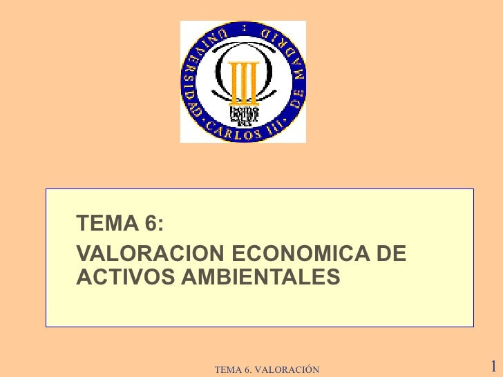 <ul><li>TEMA  6 :  </li></ul><ul><li>VALORACION ECONOMICA DE ACTIVOS AMBIENTALES   </li></ul>TEMA 6. VALORACIÓN