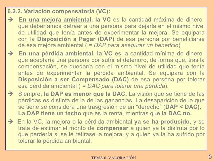<ul><li>6.2.2. Variación compensatoria  (VC) : </li></ul><ul><li>   En una mejora ambiental ,  la VC  es l a cantidad má...