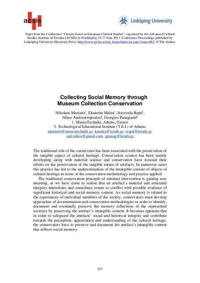"""Paper from the Conference """"Current Issues in European Cultural Studies"""", organised by the Advanced Cultural  Studies Insti..."""