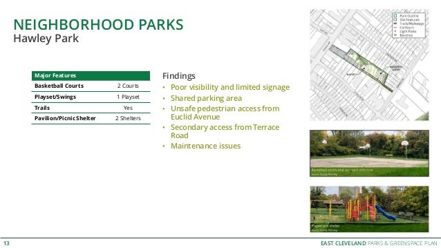 EAST CLEVELAND PARKS & GREENSPACE PLAN NEIGHBORHOOD PARKS 13 Hawley Park Major Features Basketball Courts 2 Courts Playset...