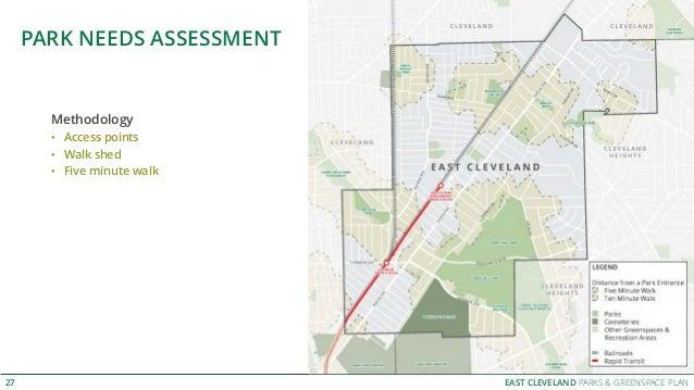 EAST CLEVELAND PARKS & GREENSPACE PLAN PARK NEEDS ASSESSMENT 27 Methodology • Access points • Walk shed • Five minute walk