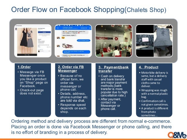 """Order Flow on Facebook Shopping(Chalets Shop) 1.Order • Message via FB Messenger once you like a product on """"Shop"""" page on..."""