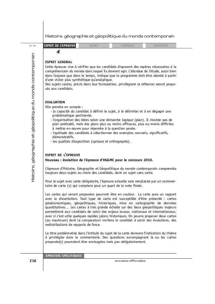 Histoire, géographie et géopolitique du monde contemporain>>    ESPRIT DE L'EPREUVE          SUJET                CORRIGE ...