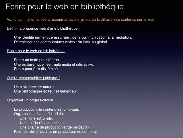 Ecrire pour le web en bibliothèque. Slide 2