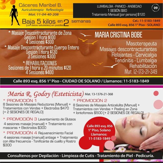 Cáceres Maribel B.  LUMBALGIA - PANICO - ANSIEDAD  Auriculoterapia - Reflexología Mat. 11-04-40-208  1 SESIÓN $80 Tratamie...
