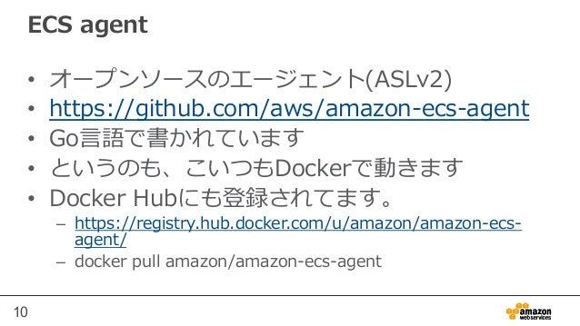 10 ECS agent • オープンソースのエージェント(ASLv2) • https://github.com/aws/amazon-‐‑‒ecs-‐‑‒agent • Go⾔言語で書かれています • というのも、こいつもDock...