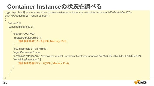 28 Container Instanceの状況を調べる mypc:tmp ohtani$ aws ecs describe-container-instances --cluster my --container-instances 077e...