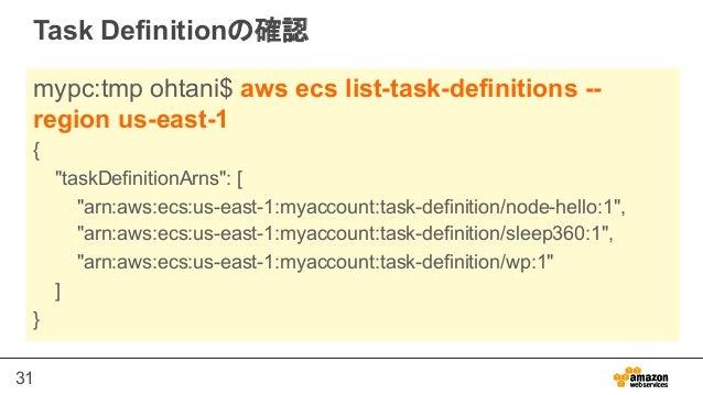 "31 Task Definitionの確認 mypc:tmp ohtani$ aws ecs list-task-definitions -- region us-east-1 { ""taskDefinitionArns"": [ ""arn:aw..."