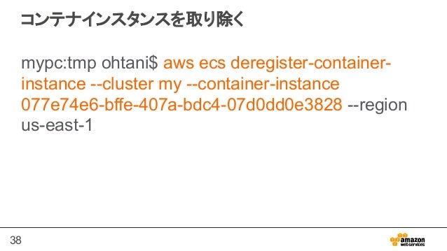 38 コンテナインスタンスを取り除く mypc:tmp ohtani$ aws ecs deregister-container- instance --cluster my --container-instance 077e74e6-bffe...