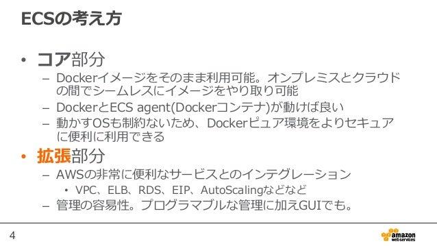 4 ECSの考え⽅方 • コア部分 – Dockerイメージをそのまま利利⽤用可能。オンプレミスとクラウド の間でシームレスにイメージをやり取り可能 – DockerとECS agent(Dockerコンテナ)が動けば良良い – 動か...