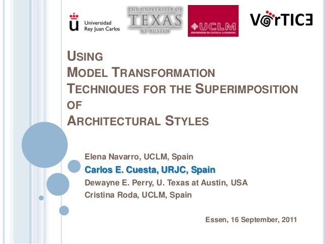 USINGMODEL TRANSFORMATIONTECHNIQUES FOR THE SUPERIMPOSITIONOFARCHITECTURAL         STYLES  Elena Navarro, UCLM, Spain  Car...