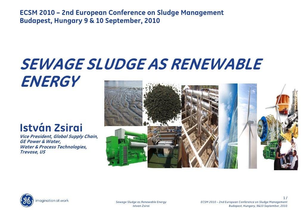 ECSM 2010 – 2nd European Conference on Sludge ManagementBudapest, Hungary 9 & 10 September, 2010SEWAGE SLUDGE AS RENEWABLE...