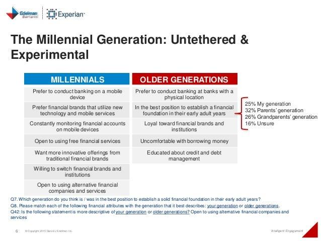 6 © Copyright 2015 Daniel J Edelman Inc. Intelligent Engagement MILLENNIALS OLDER GENERATIONS Prefer to conduct banking on...