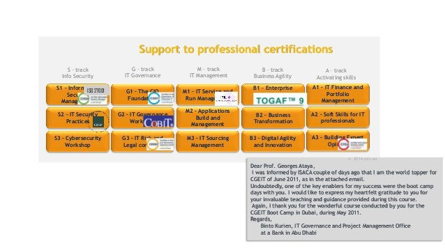 G3 – IT Risk and Legal concerns G1 – The CIO Foundation G2 – IT Governance Workshop B2 – Business Transformation B3 – Digi...