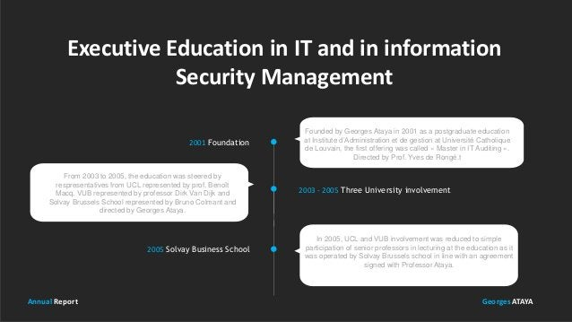 Executive Education in IT and in information Security Management Founded by Georges Ataya in 2001 as a postgraduate educat...