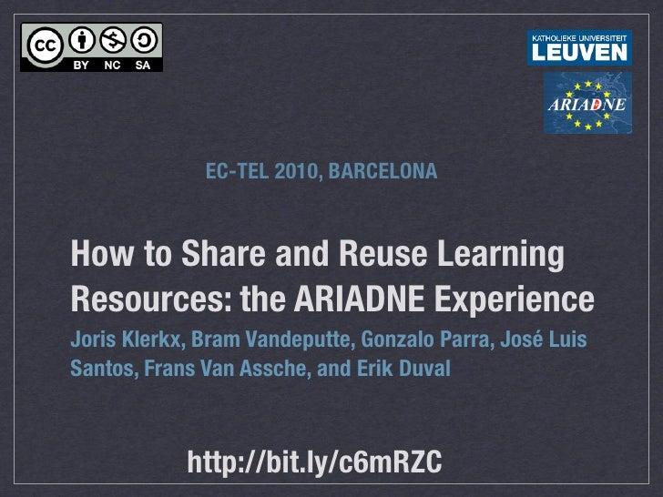 EC-TEL 2010, BARCELONA   How to Share and Reuse Learning Resources: the ARIADNE Experience Joris Klerkx, Bram Vandeputte, ...