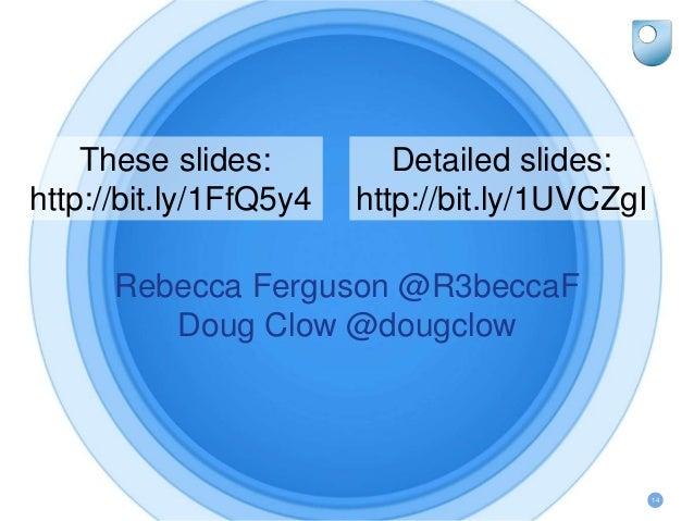 14 Rebecca Ferguson @R3beccaF Doug Clow @dougclow These slides: http://bit.ly/1FfQ5y4 Detailed slides: http://bit.ly/1UVCZ...