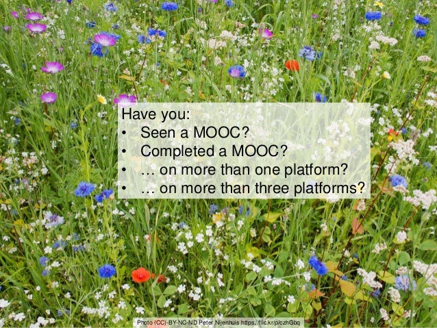 3 Have you: • Seen a MOOC? • Completed a MOOC? • … on more than one platform? • … on more than three platforms? Photo (CC)...
